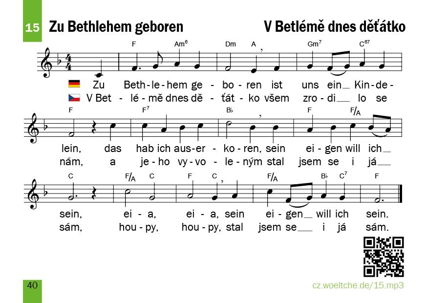 Zu Bethlehem geboren – V Betlémě dnes děťátko – Weihnachtslieder ...